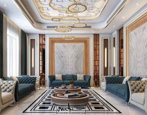 طراحی فضای داخلی با سنگ سفید و روشن