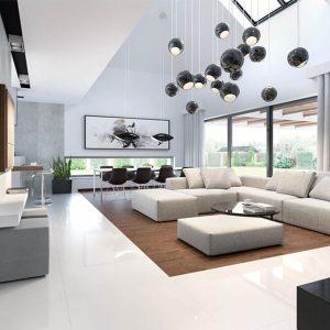 طراحی دکوراسیون داخلی خانه به سبک مینیمال و با سنگ ساختمانی
