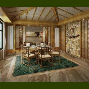 طراحی فضای داخلی با سنگ ساختمانی زمینه سبز