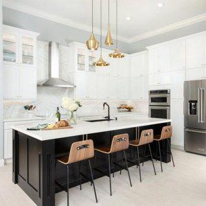 طراحی آشپزخانه مدرن با سنگ ساختمانی
